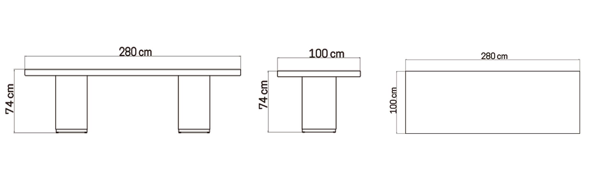 Mesa Comedor Rectangular 280cm - Skyline Design